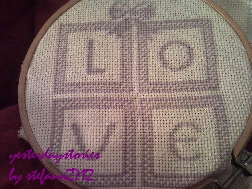 cross stitched love square gift